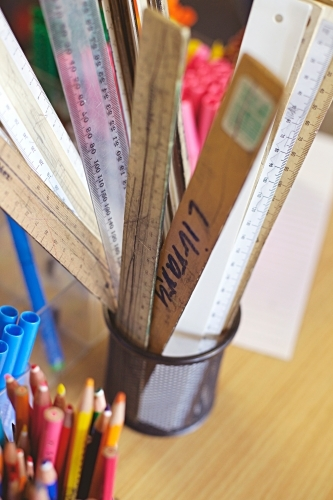 Back to school - close up of rulers