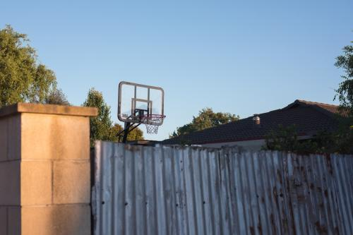 Backyard basketball in the suburbs at sunset