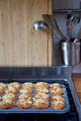 Baked muffins in baking tray