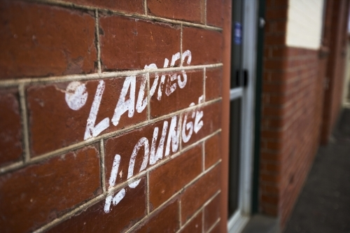 Ladies Lounge signage on country pub wall