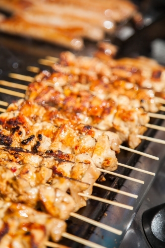 Row of chicken kebabs cooking on the barbecue