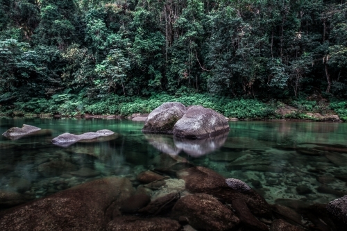 Beautiful swimming hole in the rainforest