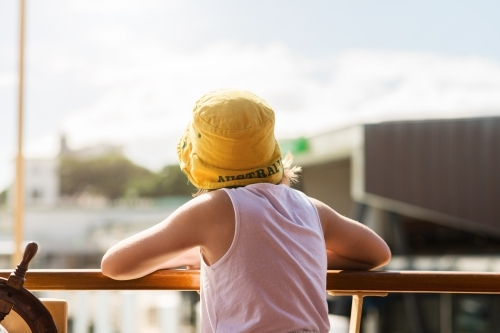 behind view of girl on ferry in Sydney