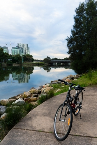 Bike by the water in a Sydney park