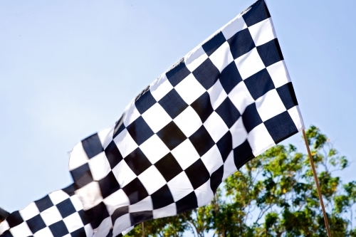 Black and white checkered racing flag