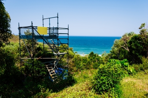 Block of land for sale with a scaffold set up to show the views