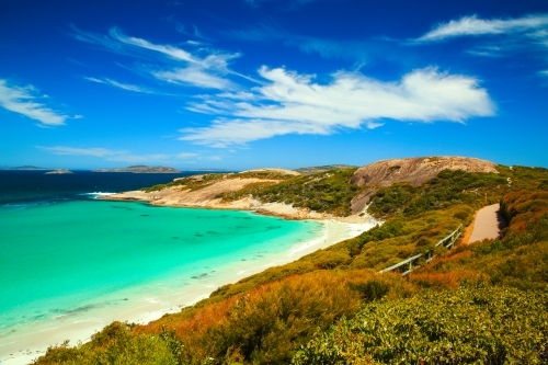 A coastal trail alongside the stunning water at Blue Haven Beach, Esperance