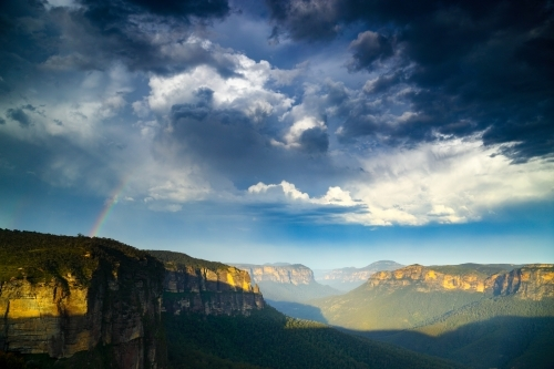 A rainbow over the Grose Valley in the Blue Mountains National Park