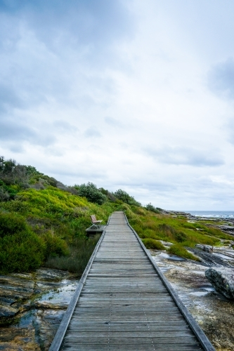 Boardwalk by the coastline - wooden path