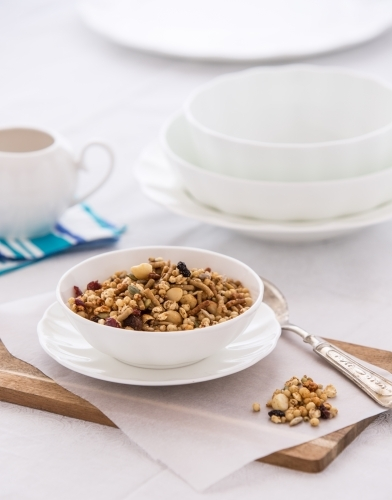 Bowl of organic Granola served at a table