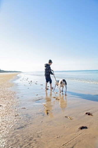 Boy and dog explore the remote coast of Queensland