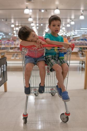 Two mixed race brothers sit bored waiting in a supermarket shopping trolley