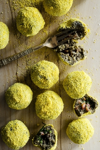 Brazilian Vegetarian Balls on chopping board