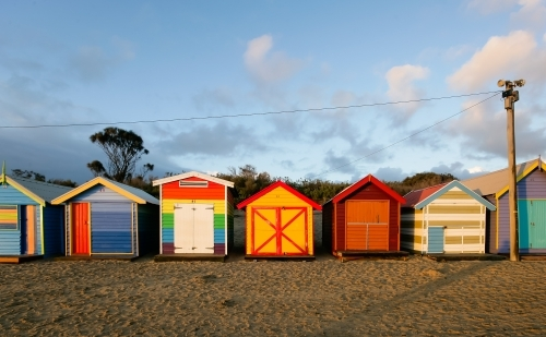 Row of bathing boxes at a city beach