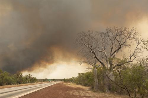 bushfire smoke across highway in north west australia