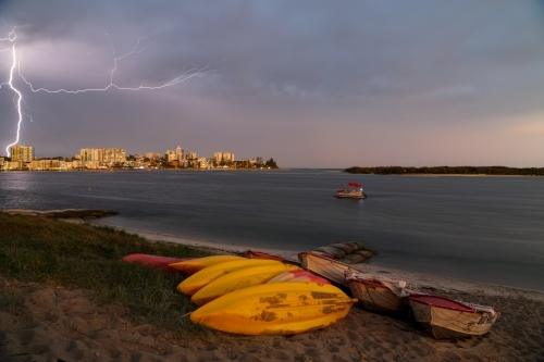 A thunderstorm and lightning over Caloundra on the Sunshine Coast of Queensland