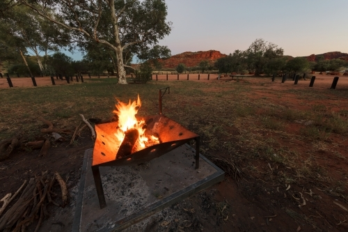 Campfire at campsite in the outback, Northern Territory Palm Valley