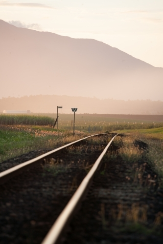 Late afternoon light on cane train tracks with mountains in background.