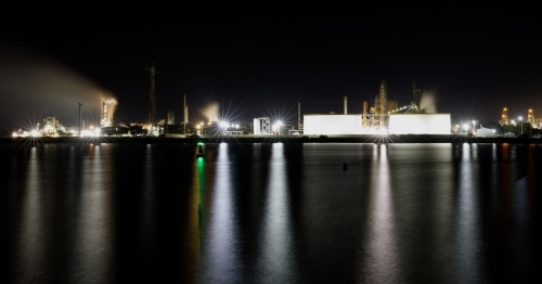Chemical manufacturing plant at night on Kooragang Island