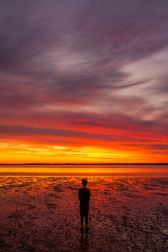 Child and stunning sunset at Port Broughton in Yorke Peninsula, South Australia