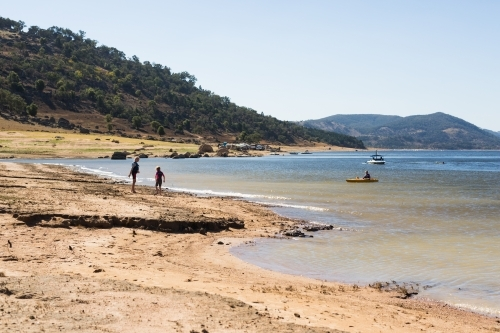Children playing in the water at Wyangala dam