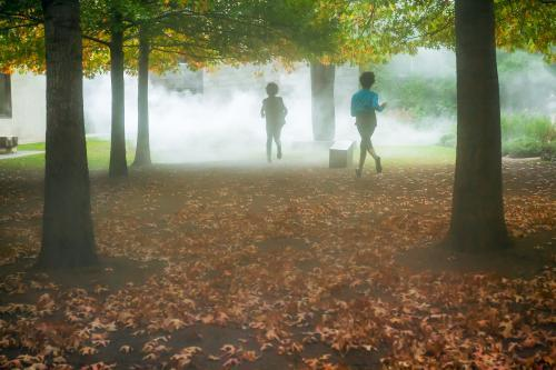 Children running into fog in a forest.