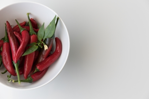 Chillies In A White Bowl - Close Left