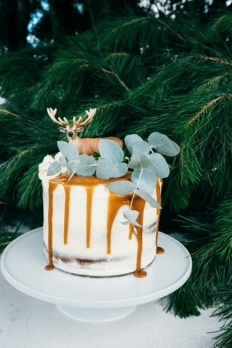 Image Of Christmas Cake Decorated With Mini Trees And A Deer