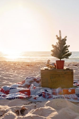 Christmas Holiday Setting On The Beach at Sunset