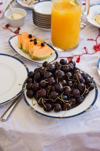 christmas morning breakfast, cherries and fruits