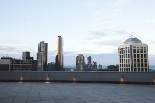 City high rise buildings on the Melbourne skyline at sunrise