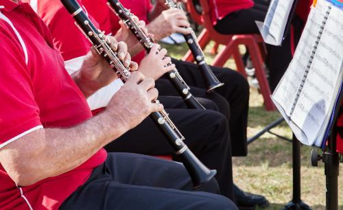 Clarinet players performing in an outdoor band