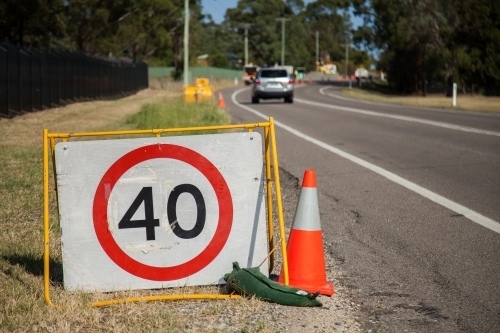 40 roadwork speed limit sign on road