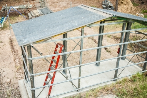 Chook yard shed under construction on property