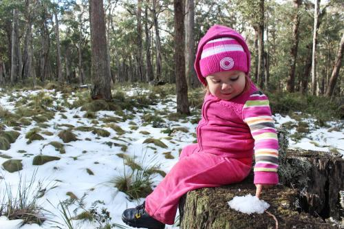 Little girl sitting on a tree stump touching a pile of snow