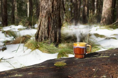 Steaming mug on a log in the snow