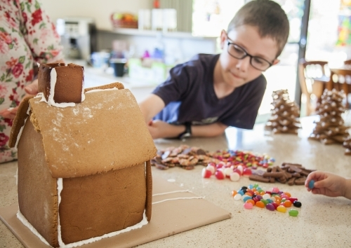Gingerbread house ready to be decorated with lollies for christmas