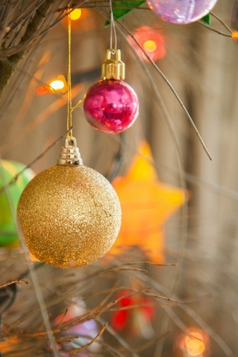 Colourful Christmas baubles hanging on tree