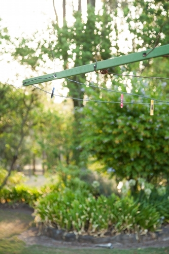 Three coloured clothes pegs hanging on an empty washingline with garden in background