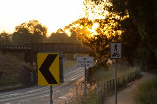 Collection of road signs at sunrise