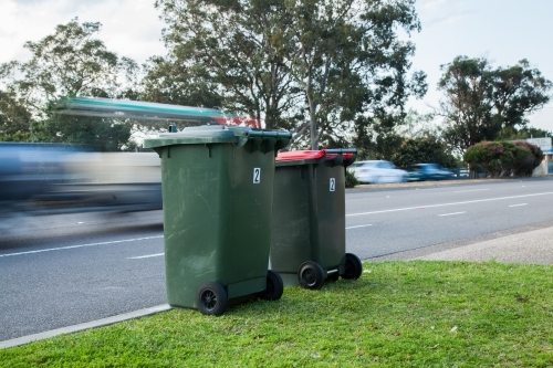 Two council bins awaiting collection beside a busy road