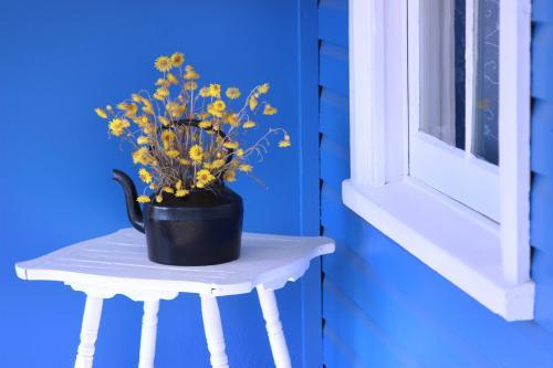 Black kettle with yellow flowers, on a white stand with blue background