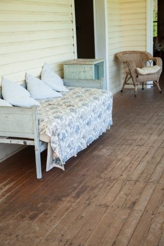 Old lounge on an enclosed verandah of a country homestead