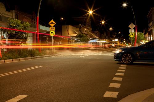 Long exposure streetscape of a small town at night