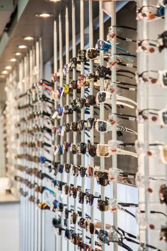 Rows of glasses and frames to choose from at the optometrist