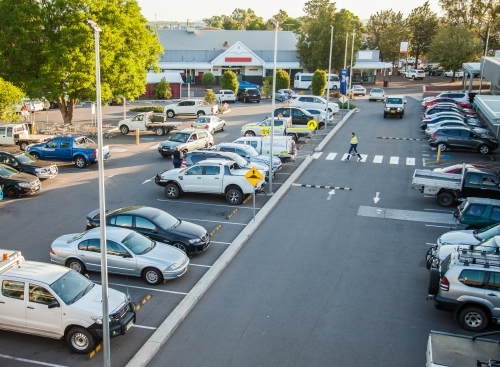 Elevated view of busy car park in Singleton near the shopping centre