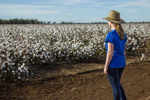 Young farm kid standing near a paddock of cotton