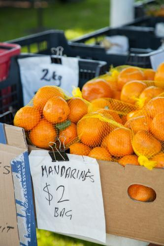Mandarins for sale at a farmers market
