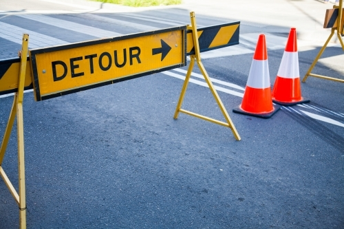 Detour and traffic cones, main road closed for street party