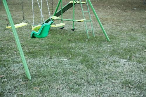 Swing set on the frost covered lawn